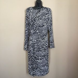 New Michael Kors Zebra Print Long Sleeve Dress